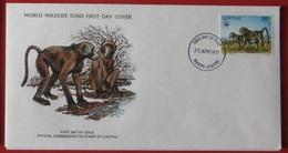 Mhp1044b FAUNA WWF ZOOGDIEREN AAP MONKEY KAAPSE BAVIAAN BABOON MAMMALS LESOTHO 1977 FDC - Apen