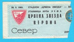 FCRED STAR : HELLAS VERONA FC - 1983. UEFA CUP Football Soccer Ticket Billet Fussball Biglietto Di Calcio Italy Italia - Eintrittskarten