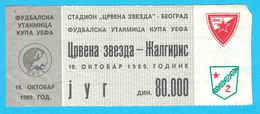 FCRED STAR : FC ZALGIRIS Lithuania - 1989. UEFA CUP Football Soccer Ticket Billet Fussball Biglietto Billete - Match Tickets
