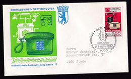 Germany Berlin: FDC First Day Cover, 1977, 1 Stamp, Classic & Modern Telephone, Telecommunication (traces Of Use) - Brieven En Documenten