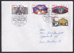 Germany: Cover, 1989, 4 Charity Stamps, First Day Cancel, Circus, Clown, Elephants, Horse, Artists (traces Of Use) - Brieven En Documenten