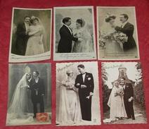 Lot 11 Cartes Postales Fantaisies - Couples De Mariés - Noces - Mariages - Fleurs - Femmes - Hommes - Portraits ---- 396 - Noces