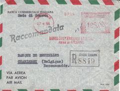 Italie - Lettre Recommandée De 1955 - Oblitération Genova - EMA - Empreintes Machines - Banque - 6. 1946-.. Republic