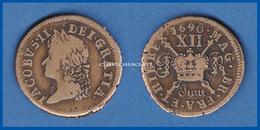 IRELAND JUNE 1690 JAMES II GUN MONEY SMALL SHILLING  GOOD-FINE CONDITION PLEASE SEE SCAN - Irlanda