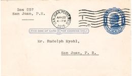 Postcard / Carte Postale USA - 1 Cent McKinley - Used 1915 Fr. San Juan, Porto Rico - Etats-Unis