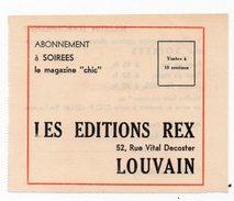 Bulletin D'abonnement à Soirées - Rexisme Degrelle - Reclame