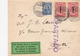 ITALIE  LETTRE PARTIE DE TURIN AVEC LE SERVICE AERIEN DE L'AMBASSADE DE COLOMBIE 1919 - 1900-44 Vittorio Emanuele III