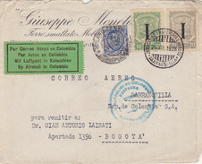 ITALIE  LETTRE PARTIE DE TURIN AVEC LE SERVICE AERIEN DE L'AMBASSADE DE COLOMBIE AFFRANCHISSEMENT MIXTE 1928 - 1900-44 Vittorio Emanuele III