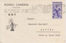 """CARTOLINA PUBBLICITARIA  - """"D.D.T."""" - ROMEO CAMERINI - TRIESTE - FRANCOBOLLO LIRE 20 AMG-FTT - Werbepostkarten"""