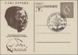 Sonderpostkarte P 285/06 WHW Carl Peters, Blanko-SSt KARLSRUHE Opfertag 25.2.40 - Ganzsachen