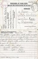 PRIGIONIERI POW CAMP DEPOT XVI TUNIS TUNISIA 1944 X CARINI - Posta Militare (PM)