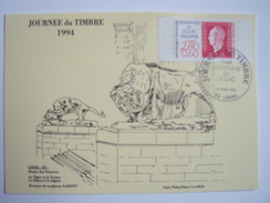 LAVAL - 53- Journée Du Timbre Le 12 Mars 1994 Carte Postale Locale Musée Des Sciences - 1990-1999