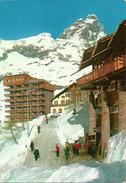 Cervinia Breuil (Aosta) Negozio Noleggio Attrezzatura Sciistica, Scorcio Panoramico Invernale, Alberghi E Cervino - Aosta