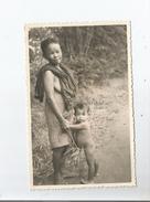 CAMBODGE CARTE PHOTO JEUNE FEMME ET ENFANT - Cambodge