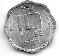 *INDIA 10 PAISA 1991 B  KM 39  UNC - Inde