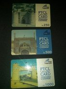 Pakistan PTCL Calling Cards Lot Of 3 Phonecard Used