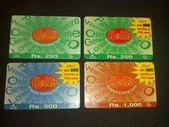 Pakistan Hello Lot Of 4 Phonecard Used - Télécartes