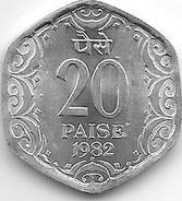 *INDIA 20 PAISA 1982 H  KM 44  Unc Without Mintmark !! - Inde