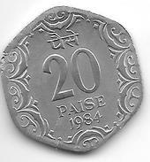 *INDIA 20 PAISA 1984 C  KM 44  Xf+ - Inde