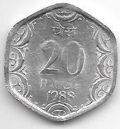 *INDIA 20 PAISA 1988 H  KM 44  Xf+ - Inde