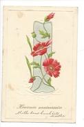 16111 - Heureux Anniversaire Oeillets Brodés Carte En Relief Envoyée En 1904 + Cachet La Praz Et Charbonnières - Anniversaire