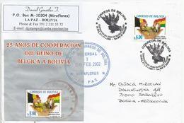 Bolivia 2002 Miraflores Cooperation Belgium Flag Agriculture Goat MS Cover - Bolivië