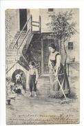 16113 - Femme Au Râteau Enfant Et Chien Envoyée En 1904 - Autres