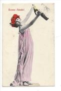 16118 - Bonne Année Femme à La Couronne De Fleurs Et Champagne + Cachet Lausanne St Laurent - Nouvel An