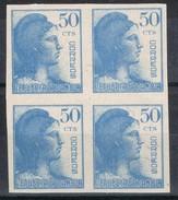 Bloque De 4 Sellos 50 Cts Alegoria Republica, Sin Dentar. Edifil Num 753s ** - 1889-1931 Royaume: Alphonse XIII