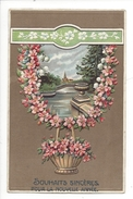 16125 -  Souhaits Sincères Pour La Nouvelle Année Corbeille De Fleurs Et Couronne Paysage Carte En Relief - Nouvel An