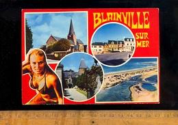 BLAINVILLE SUR MER Manche 50 : L' église Le Manoir La Plage  / Pin Up Femme En Bikini Woman - Blainville Sur Mer