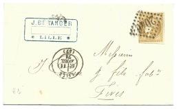 N° 43 CERES 10c BISTRE SUR LETTRE  LILLE NORD  POUR  FIVES  1871 - Storia Postale
