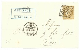N° 43 CERES 10c BISTRE SUR LETTRE  LILLE NORD  POUR  FIVES  1871 - Postmark Collection (Covers)
