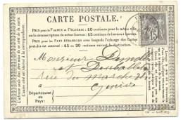 CP N° 77 SAGE 10c GRIS SUR CARTE  VALLERY  POUR GENEVE  1877 - Marcofilia (sobres)