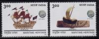 India MNH 1999, Set Of 2, Maritime Heritage, History, Terractta Model Boat Lothal 2200 B.C. & Sailing Ship Of Kanhoj - Inde