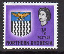 Northern Rhodesia QEII 1963 Coat Of Arms ½d Definitive, SG 75, MNH - Selvedge Stuck To Gum (BA) - Northern Rhodesia (...-1963)