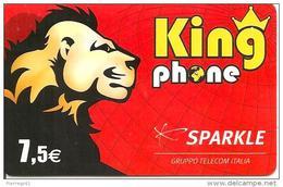 CARTE-PREPAYEE-SPARKLE-7. 5 €--KINGPHONE-LION-31/12/2008-R° BRILLANT-TBE - France