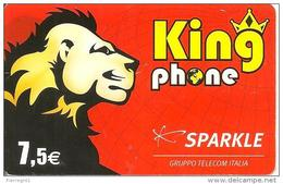 CARTE-PREPAYEE-SPARKLE-7. 5 €--KINGPHONE-LION-31/12/2007-V° N°sur FOND JAUNE-TBE - France