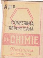 #BV6574  CHEMISTRY CONFERENCE,REPUBLICAN,TIMISOARA,1966,MATCHBOX LABEL,ROMANIA. - Boites D'allumettes - Etiquettes
