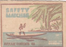 #BV6574  SAFETY MATCHES, TROPICAL ISLAND, BOAT,MAN,MATCHBOX LABEL,ROMANIA. - Boites D'allumettes - Etiquettes