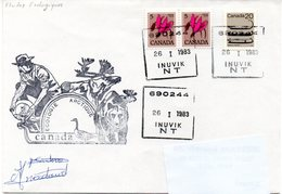 Ecologie Arctique, Canada. Cachet à Date Inuvik, 26-01-1983. Cachet Illustré Et Signatures. - Expéditions Arctiques