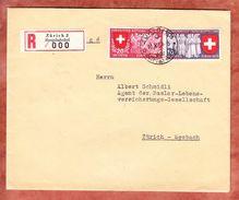Einschreiben Reco, MiF Landesausstellung U.a., Zuerich Hauptbahnhof, R-Zettel 000!, AK-Stempel Seebach 1939 (34120) - Covers & Documents