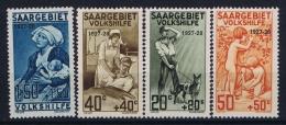 Saargebiet: Mi Nr 122 - 125 MH/* Falz/ Charniere 1927 Volkshilfe  Sc B1- B 4 - 1920-35 Saargebiet – Abstimmungsgebiet