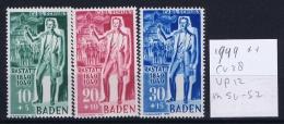 French Occ. Zone Baden Mi 50 - 52  MNH/**/postfrisch/neuf Sans Charniere 1949 - Zone Française