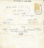 BIGLIETTO CAMPO PRIGIONIERI INDIA POW CAMP 26 YOL 1945 X CALASCIBETTA - 1900-44 Vittorio Emanuele III