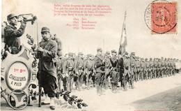 CPA 1 Er Bataillon Des Chasseurs Alpins. DIXMONT 89. Salut Au Drapeau. 1905. Par Bergeret. - War 1914-18