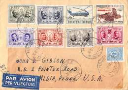 BRIEF 1957 PER VLIEGTUIG 1013/1018 1012 1030 1027A LE HAVRE USA UNITED STATES MEDIA PENNSYLVANIA LETTRE PAR AVION - Belgien