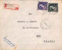 BRIEF 1946 AANGETEKEND METZ FRANCE SCHAERBEEK SCHAARBEEK UCCLE  LETTRE RECOMMANDEE - Briefe U. Dokumente