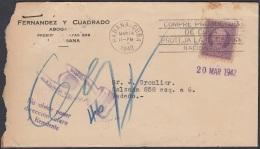 1917-H-330  CUBA REPUBLICA 1917 3c. SOBRE RETORNADO 1942. MANO HAND POSTMARK. CUMPLIDO EN LISTA. DESCONOCIDO - Cuba