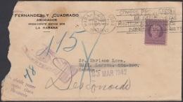 1917-H-331 CUBA REPUBLICA 1917 3c. SOBRE RETORNADO 1942. MANO HAND POSTMARK. DESCONOCIDO UNCLAIMEND. - Lettres & Documents